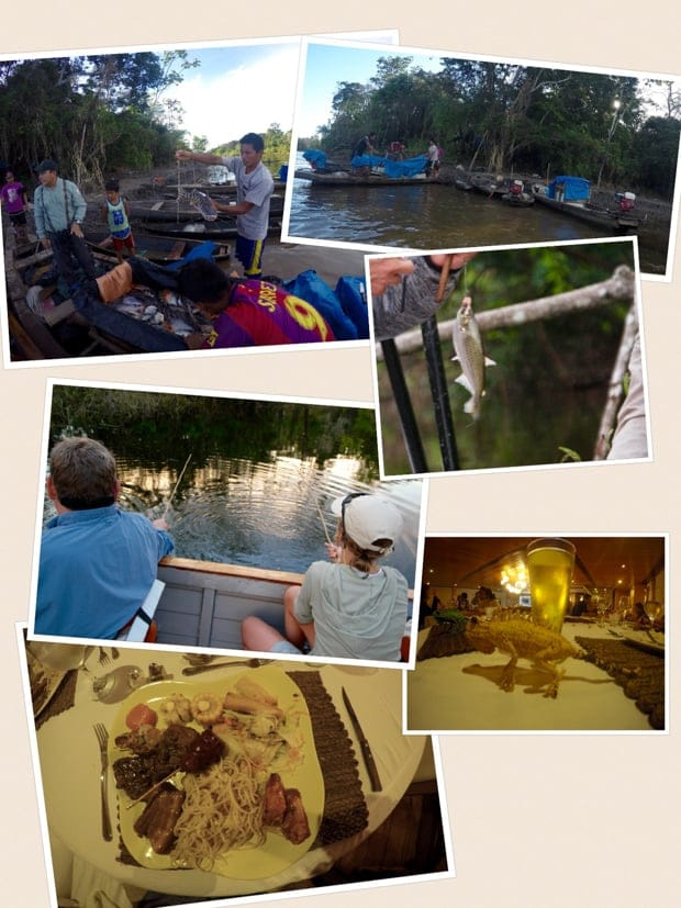 Collage of photos from a small ship cruise in the Amazon including meeting locals, fishing, and meals.