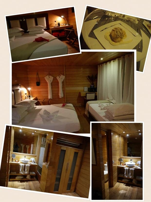 Collage of cabin and meal photos taken aboard the small ship cruise Delfin II in the Amazon.