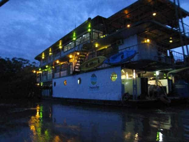 Manatee Amazon Explorer small ship cruise at dusk.