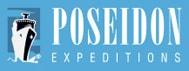 Poseidon Expeditions blue logo with black ship.