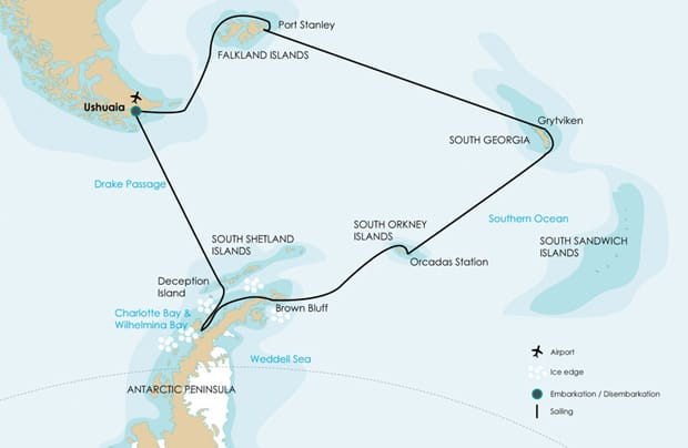 South Georgia Falklands map showing the cruise route from Ushuaia, Argentina to the Falkland Islands, South Georgia, South Orkney Islands, and then around the north Peninsula of Antarctica.