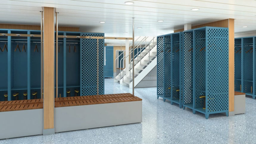 Mudroom aboard Sylvia Earle polar ship, with open blue lockers showing expedition boots, wooden hangars & benches.
