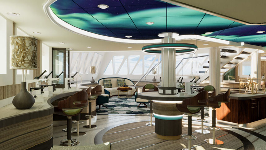 Science center aboard Sylvia Earle polar ship with marble tables, bar stools, large decorative lamps, windows and northern lights decorated ceiling.